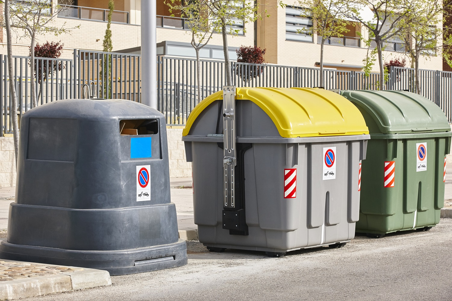 Containers for recycle paper plastic and organic. Waste segregat